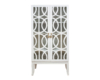 TEAK DISPLAY CASE IN WHITE OPENWORK DOOR